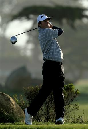 PEBBLE BEACH, CA - FEBRUARY 13:  Tim Clark of South Africa hits his tee shot on the tenth hole during the third round of the AT&T Pebble Beach National Pro-Am at Monterey Peninsula Country Club on February 13, 2010 in Pebble Beach, California.  (Photo by Stephen Dunn/Getty Images)