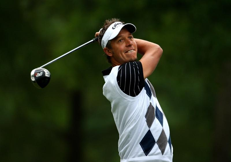 CHARLOTTE, NC - APRIL 30:  Fredrik Jacobson of Sweden tee's off at the 4th during the first round of the Quail Hollow Championship at Quail Hollow Golf Club on April 30, 2009 in Charlotte, North Carolina.  (Photo by Richard Heathcote/Getty Images)
