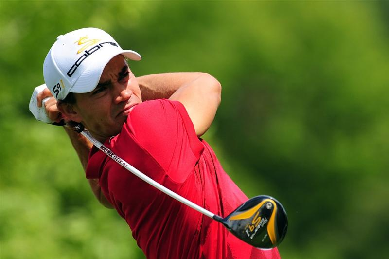 CHASKA, MN - AUGUST 13:  Camilo Villegas of Colombia plays his tee shot on the fifth tee during the first round of the 91st PGA Championship at Hazeltine National Golf Club on August 13, 2009 in Chaska, Minnesota.  (Photo by Stuart Franklin/Getty Images)