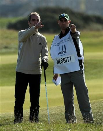 ST ANDREWS, SCOTLAND - OCTOBER 07:  James Nesbitt of Northern Ireland the actor on the 5th hole during the first round of The Alfred Dunhill Links Championship at The Old Course on October 7, 2010 in St Andrews, Scotland.  (Photo by David Cannon/Getty Images)