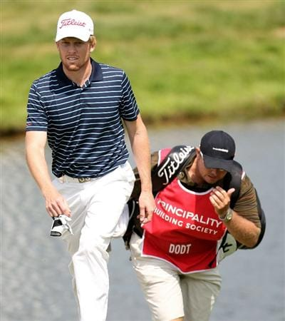 NEWPORT, WALES - JUNE 03:  Andrew Dodt of Australia on the par five 18th hole during the first round of the Celtic Manor Wales Open on the 2010 Course at the Celtic Manor Resort on June 3, 2010 in Newport, Wales.  (Photo by Ross Kinnaird/Getty Images)