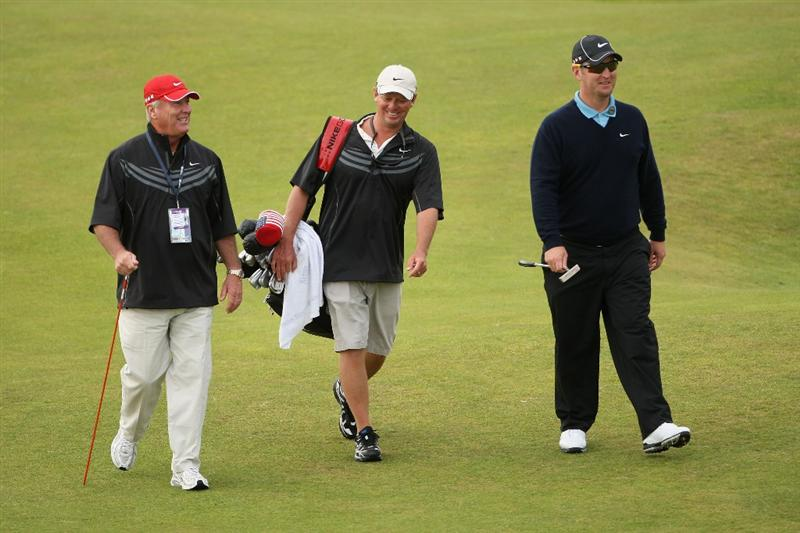 TURNBERRY, SCOTLAND - JULY 14:  David Duval of USA walks with his caddie Jeff Weber and Coach Puggy Blackmon (L) during a practice round prior to the 138th Open Championship on the Ailsa Course, Turnberry Golf Club on July 14, 2009 in Turnberry, Scotland.  (Photo by Andrew Redington/Getty Images)