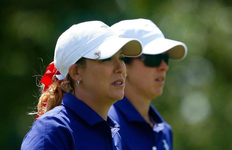 SUGAR GROVE, IL - AUGUST 22:  (L-R) Cristie Kerr and Nicole Castrale of the U.S. Team walk off the 13th tee during the saturday morning fourball matches at the 2009 Solheim Cup at Rich Harvest Farms on August 22, 2009 in Sugar Grove, Illinois.  (Photo by Scott Halleran/Getty Images)