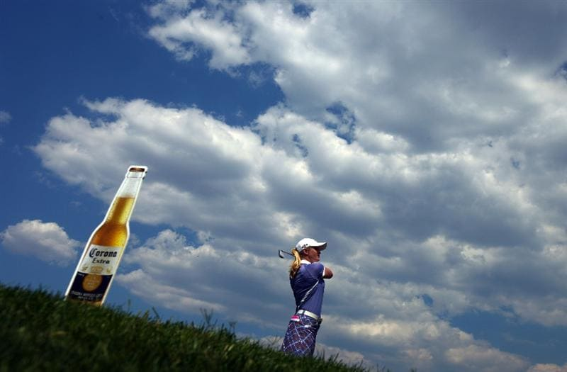 MORELIA, MEXICO- APRIL 24:  Suzann Pettersen of Norway tees off the 4th hole during the second round of the 2009 Corona Championship, part of the LPGA Tour, on April 24, 2009 at the Tres Marias Golf Club in Morelia, Michoacan, Mexico. Pettersen is 13-under par after two rounds. (Photo by Donald Miralle/Getty Images)