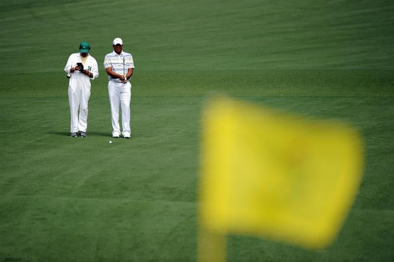 AUGUSTA, GA - APRIL 08:  Jhonattan Vegas of Venezuela waits to play his approach shot on the second hole during the second round of the 2011 Masters Tournament at Augusta National Golf Club on April 8, 2011 in Augusta, Georgia.  (Photo by Harry How/Getty Images)