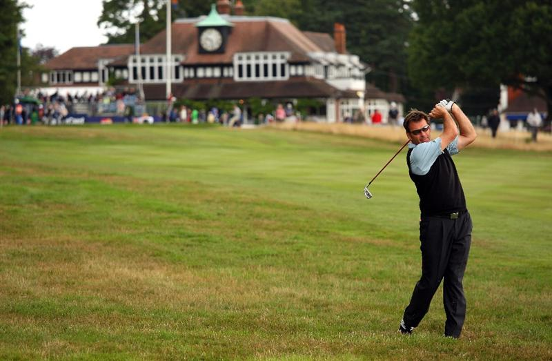 SUNNINGDALE, ENGLAND - JULY 24:  Sir Nick Faldo of England plays his second shot on the first hole during the second round of The Senior Open Championship presented by MasterCard held on the Old Course at Sunningdale Golf Club on July 24, 2009 in Sunningdale, England.  (Photo by Andrew Redington/Getty Images)