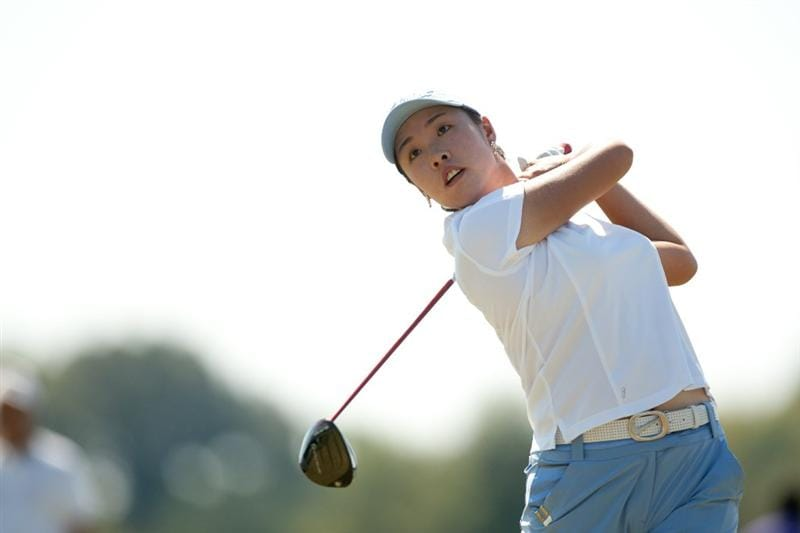 PRATTVILLE, AL - OCTOBER 10: Haeji Kang of South Korea follows through on a tee shot during the final round of the Navistar LPGA Classic at the Senator Course at the Robert Trent Jones Golf Trail on October 10, 2010 in Prattville, Alabama. (Photo by Darren Carroll/Getty Images)
