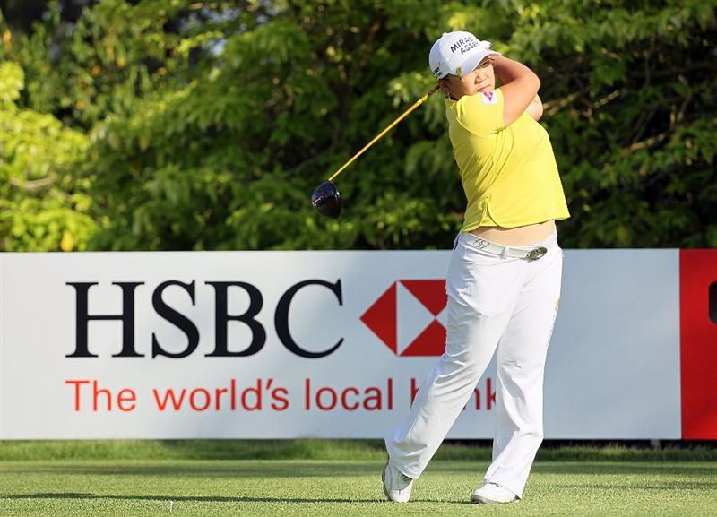 SINGAPORE - FEBRUARY 24:  Jiyai Shin of South Korea hits a shot during the Pro-Am for the HSBC Women's Champions at Tanah Merah Country Club on February 24, 2010 in Singapore.  (Photo by Andy Lyons/Getty Images)