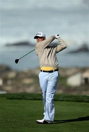 PEBBLE BEACH, CA - FEBRUARY 13:  Matt Jones hits his tee shot on the 13th hole during the third round of the AT&T Pebble Beach National Pro-Am at Monterey Peninsula Country Club on February 13, 2010 in Pebble Beach, California. (Photo by Stephen Dunn/Getty Images)