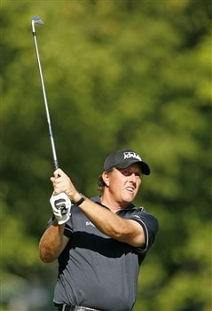 DUBLIN, OH - MAY 29: Phil Mickelson hits his second shot on the 13th hole during the first round of the Memorial Tournament at Muirfield Village Golf Club on May 29, 2008 in Dublin, Ohio. (Photo by Hunter Martin/Getty Images)