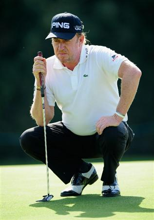 VIENNA, AUSTRIA - SEPTEMBER 18:  Miguel Angel Jimenez of Spain lines up a putt on the third hole during the third round of the Austrian golf open presented by Botarin at the Diamond country club on September 18, 2010 in Atzenbrugg near Vienna, Austria.  (Photo by Stuart Franklin/Getty Images)