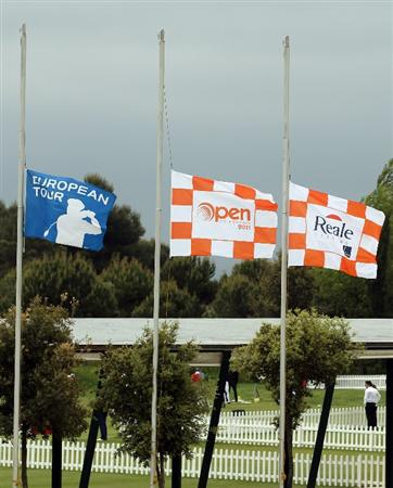 BARCELONA, SPAIN - MAY 07:  Flags fly half mast behind the driving range, following news of the death of Seve Ballesteros, during the third round of the Open de Espana at the the Real Club de Golf El Prat on May 7 , 2011 in Barcelona, Spain.  (Photo by Ross Kinnaird/Getty Images)