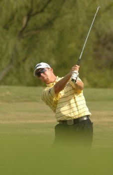 D.A. Points hits from the 8th fairway during the first round of the 2005 Valero Texas Open at La Cantera in at La Cantera Country Club in San Antonio, Texas September 22, 2005.Photo by Steve Grayson/WireImage.com