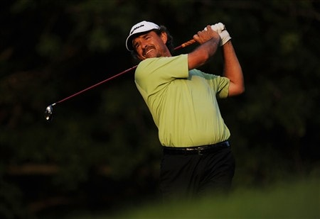 OAKVILLE, ON - JULY 26:  Carlos Franco of Paraguay makes a tee shot on the 14th hole during the third round of the RBC Canadian Open at the Glen Abbey Golf Club on July 26, 2008 in Oakville, Ontario, Canada.  (Photo by Robert Laberge/Getty Images)