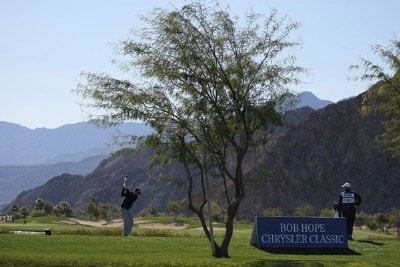 Vaughn Taylor hits a tee shot on the 10th hole during the second round of the 49th Bob Hope Chrysler Classic at the Silverrock Resort on January 17, 2008 in La Quinta, California. PGA TOUR - 2008 Bob Hope Chrysler Classic - Round TwoPhoto by Harry How/Getty Images