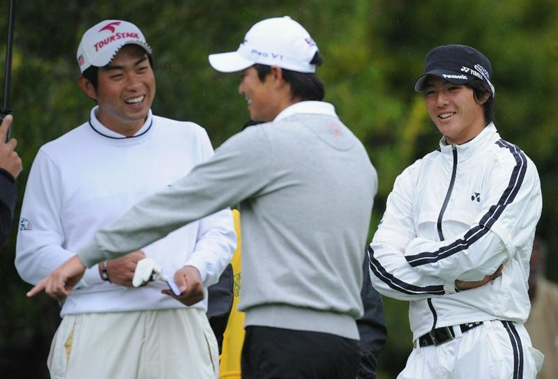 PACIFIC PALISADES, CA - FEBRUARY 18:  Ryo Ishikawa, Yuta Ikeda and Ryuji Imada of Japan share a joke during the second round of the Northern Trust Open at Riviera Country Club on February 18, 2011 in Pacific Palisades, California.  (Photo by Stuart Franklin/Getty Images)