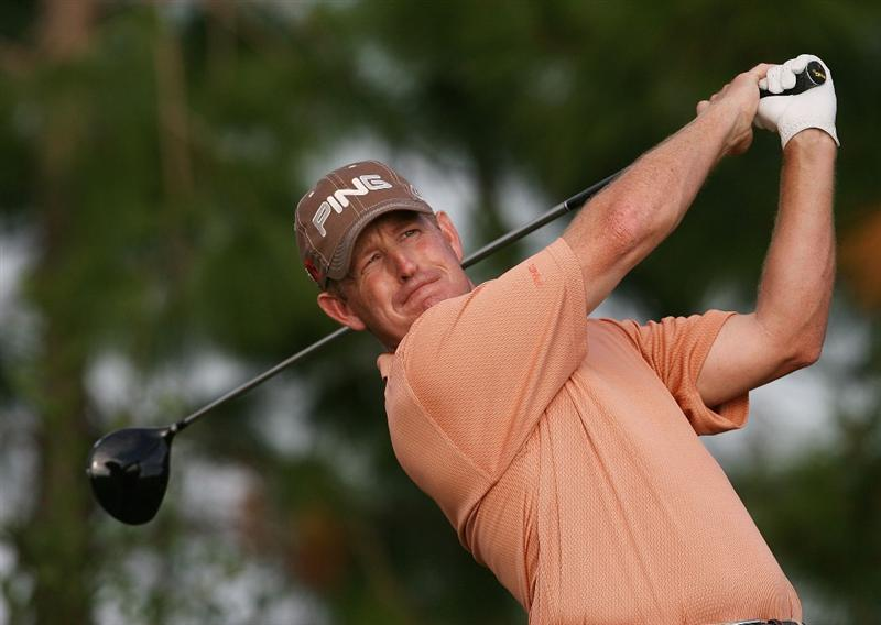 WEST PALM BEACH, FL - DECEMBER 07:  Jeff Maggert hits a tee shot during the final round of the 2009 PGA TOUR Qualifying Tournament at Bear Lakes Country Club on December 7, 2009 in West Palm Beach, Florida.  (Photo by Doug Benc/Getty Images)