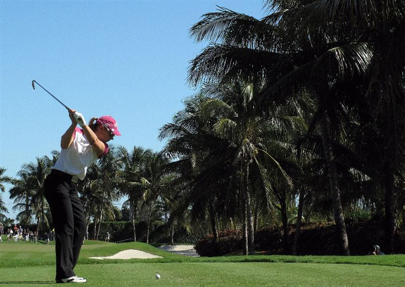 WEST PALM BEACH, FL - NOVEMBER 20:  Annika Sorenstam of Sweden hits her tee shot on the fifth hole during the first round of the ADT Championship at the Trump International Golf Club on November 20, 2008 in West Palm Beach, Florida.   (Photo by Scott Halleran/Getty Images)