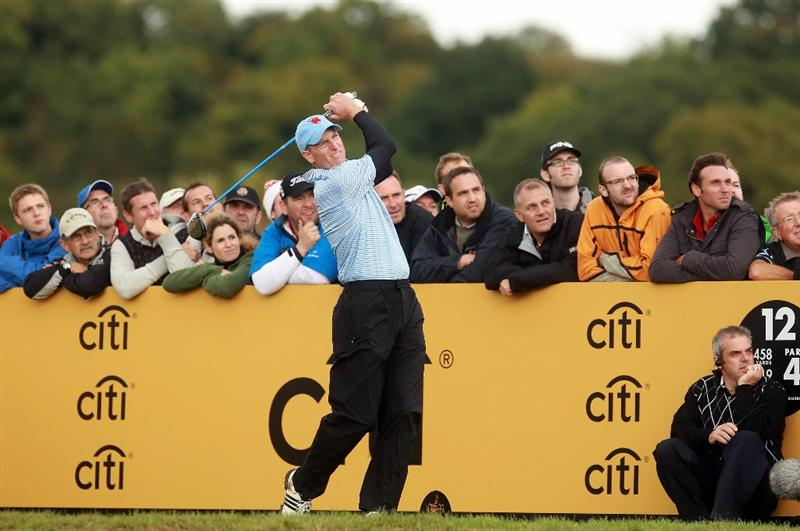 NEWPORT, WALES - OCTOBER 03:   Jim Furyk of the USA tees off on the 12th hole during the  Fourball & Foursome Matches during the 2010 Ryder Cup at the Celtic Manor Resort on October 3, 2010 in Newport, Wales. (Photo by Andrew Redington/Getty Images)