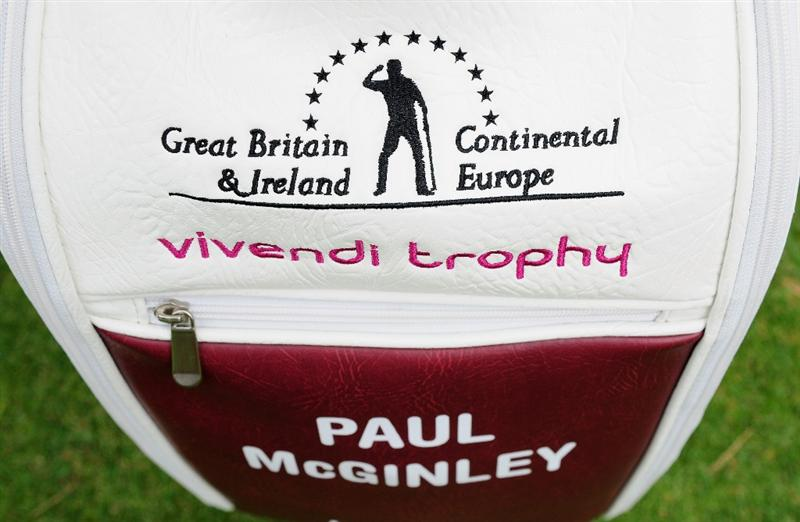 PARIS - SEPTEMBER 23:  The golf bag of Great Britian and Northern Ireland Captian Paul McGinley of Ireland during the pro - am at The Vivendi Trophy with Severiano Ballesteros at Saint - Nom - La Breteche golf course on September 23, 2009 in Paris, France.  (Photo by Stuart Franklin/Getty Images)
