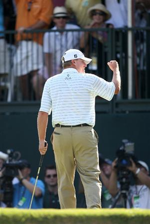 FT. WORTH, TX - MAY 31: Steve Stricker reacts after sinking a birdie putt on the second playoff hole to win the Crowne Plaza Invitational at Colonial Country Club on May 31, 2009 in Ft. Worth, Texas. (Photo by Hunter Martin/Getty Images)