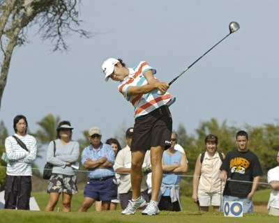 Hee-Won Han  tees off on the second hole in the final round  of the 2006 SBS Open at Turtle Bay February 18 at Kahuku, Hawaii.Photo by Al Messerschmidt/WireImage.com
