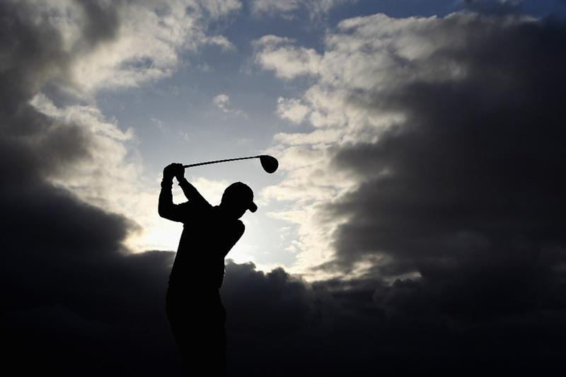 PORTO SANTO ISLAND, PORTUGAL - MAY 19:  Richard Kind of the Netherlands warms up on the 1st tee during day one of the Madeira Islands Open on May 19, 2011 in Porto Santo Island, Portugal.  (Photo by Dean Mouhtaropoulos/Getty Images)