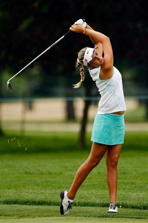 BETHLEHEM, PA - JULY 11:  Alexis Thompson makes a shot from the fairway on the 7th hole during the third round of the 2009 U.S. Women's Open at Saucon Valley Country Club on July 11, 2009 in Bethlehem, Pennsylvania.  (Photo by Chris Graythen/Getty Images)