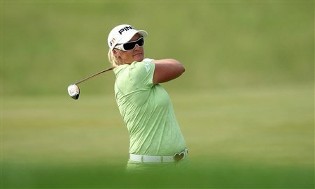 HAVRE DE GRACE, MD - JUNE 08: Maria Hjorth of Sweden hits her second shot at the 11th hole during the final round of the 2008 McDonald's LPGA Championship held at Bulle Rock Golf Course, on June 8, 2008 in Havre de Grace, Maryland. (Photo by David Cannon/Getty Images)
