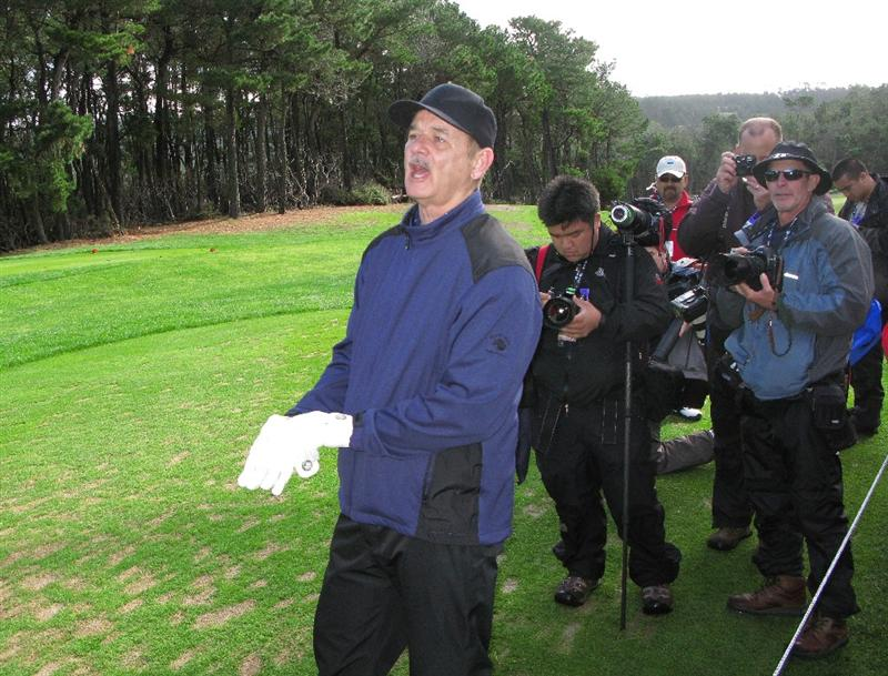 PEBBLE BEACH, CA - FEBRUARY 13: Bill Murray clowns at Poppy Hills Golf Course during the second round of the the AT&T Pebble Beach National Pro-Am on February 13, 2009 in Pebble Beach, California. (Photo by Stephen Dunn/Getty Images)