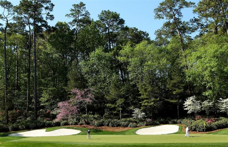 AUGUSTA, GA - APRIL 06: Dustin Johnson putts during a practice round prior to the 2010 Masters Tournament at Augusta National Golf Club on April 6, 2010 in Augusta, Georgia.  (Photo by Andrew Redington/Getty Images)