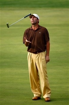 AUGUSTA, GA - APRIL 11:  Jose Maria Olazabal of Spain tosses his putter on the 15th hole during the second round of the 2008 Masters Tournament at Augusta National Golf Club on April 11, 2008 in Augusta, Georgia.  (Photo by Jamie Squire/Getty Images)