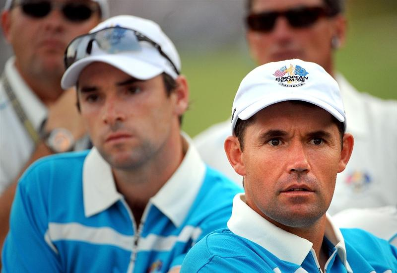 LOUISVILLE, KY - SEPTEMBER 20: Oliver Wilson and Padraig Harrington of the European team watch the play during the afternoon four-ball matches on day two of the 2008 Ryder Cup at Valhalla Golf Club on September 20, 2008 in Louisville, Kentucky.  (Photo by Sam Greenwood/Getty Images)