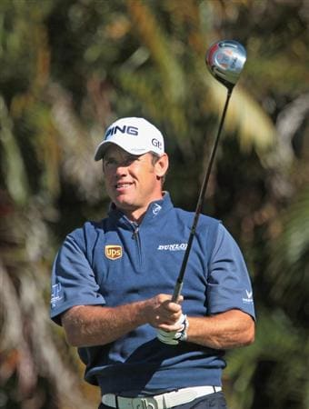 DORAL, FL - MARCH 11:  Lee Westwood of England watches his tee shot on the 16th hole during the completion of the first round of the 2011 WGC- Cadillac Championship at the TPC Blue Monster at the Doral Golf Resort and Spa on March 11, 2011 in Doral, Florida.  (Photo by Scott Halleran/Getty Images)