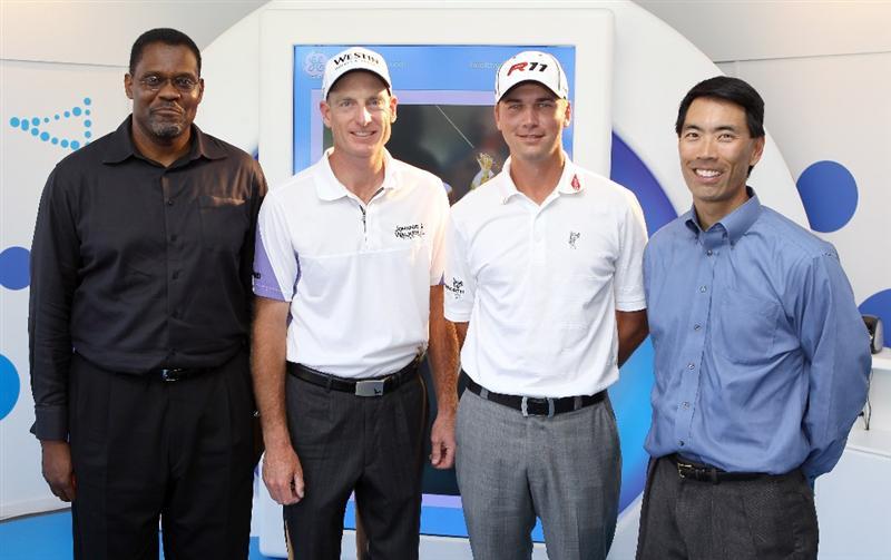 ORLANDO, FL - MARCH 23:  (L-R) Mike Barber, VP of Healthymagination, Jim Furyk, Sean O' Hair, and Rob Ohno, SVP of Corporate Marketing PGA Tour, pose during the GE official annoucement as a marketing partner with the PGA TOUR at Bay Hill Club and Lodge on March 23, 2011 in Orlando, Florida.  (Photo by Sam Greenwood/Getty Images)