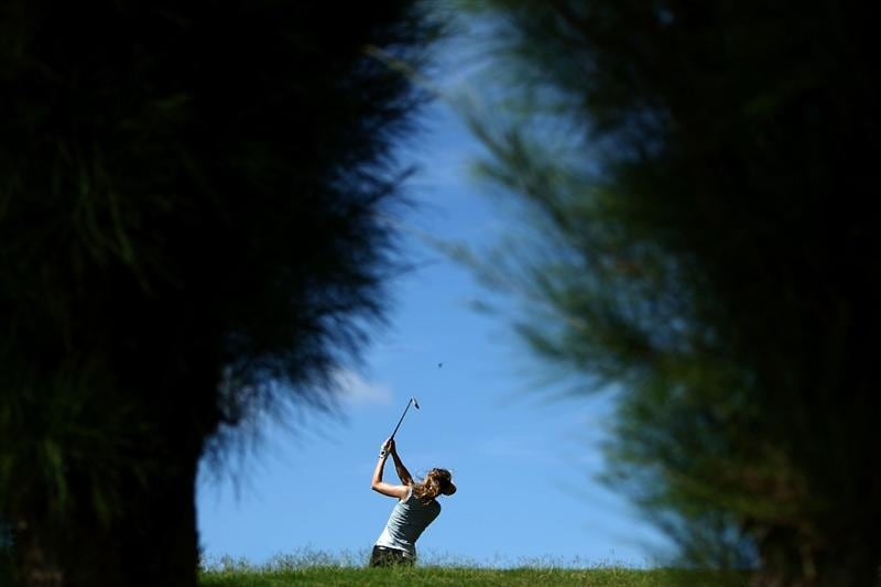 KAPALUA, HI - OCTOBER 16: Anna Rawson of Australia tees off the 8th hole during the first round of the Kapalua LPGA Classic on October 16, 2008 at the Bay Course in Kapalua, Maui, Hawaii. (Photo by Donald Miralle/Getty Images)
