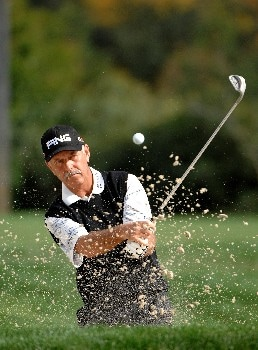 SONOMA, CA - OCTOBER 27:  Mark James of England hits his trap shot out of the greenside bunker on the 13th hole during the third round of the Charles Schwab Championship Cup at the Sonoma Golf Club October 27, 2007 in Sonoma, California.  (Photo by Marc Feldman/Getty Images)