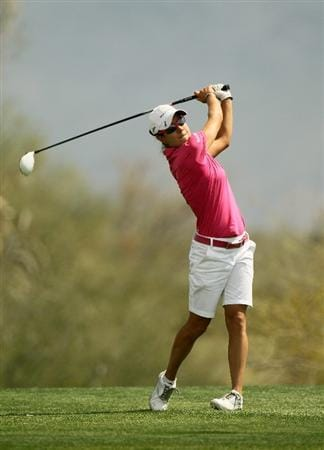 PHOENIX, AZ - MARCH 18:  Dewi Claire Schreefel of the Netherlands hits her tee shot on the 18th hole during the first round of the RR Donnelley LPGA Founders Cup at Wildfire Golf Club on March 18, 2011 in Phoenix, Arizona.  (Photo by Stephen Dunn/Getty Images)
