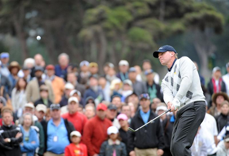 SAN FRANCISCO - OCTOBER 10:  Steve Stricker of the USA Team hits out of the rough on the 11th hole during the Day Three Morning Foursome Matches of The Presidents Cup at Harding Park Golf Course on October 10, 2009 in San Francisco, California.  (Photo by Harry How/Getty Images)