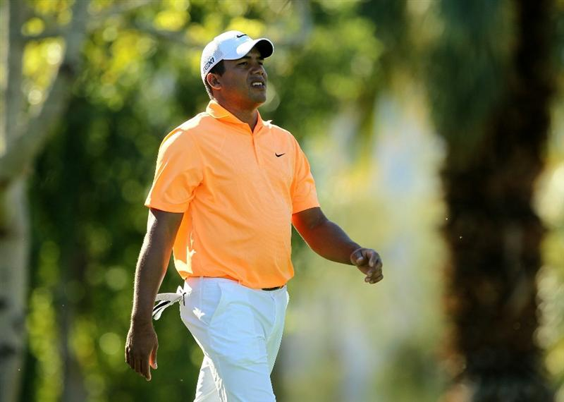 LA QUINTA, CA - JANUARY 23:  Jhonattan Vegas of Venezuela walks off the tee on the second hole during the final round of the Bob Hope Classic on the Palmer Private Course at PGA West on January 23, 2011 in La Quinta, California.  (Photo by Stephen Dunn/Getty Images)