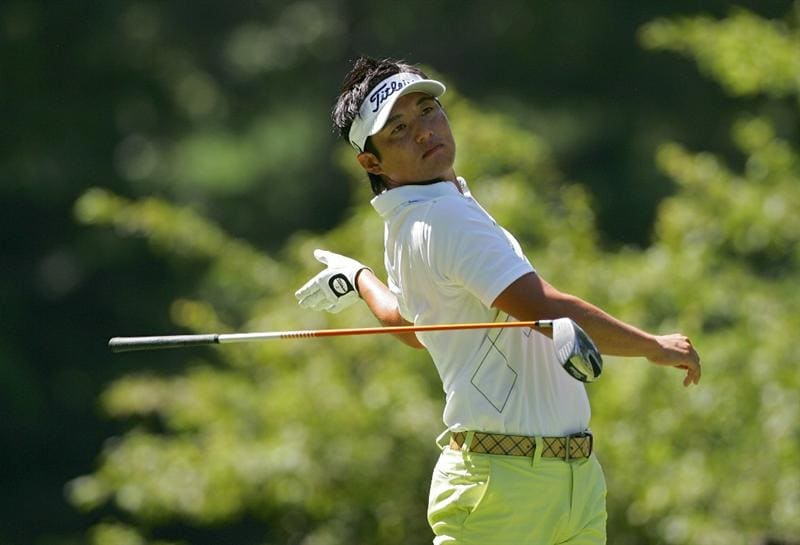 CROMWELL, CT - JUNE 25:  Ryuji Imada of Japan lets go of his driver after a drive during the second round of the Travelers Championship held at TPC River Highlands on June 25, 2010 in Cromwell, Connecticut.  (Photo by Michael Cohen/Getty Images)