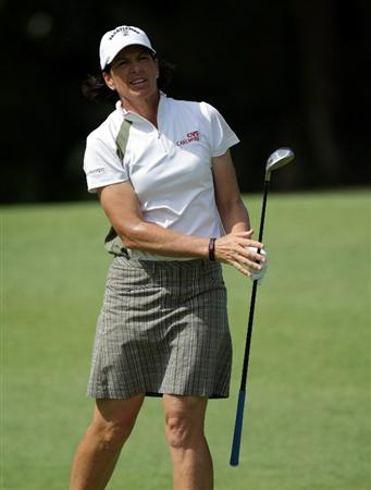 SINGAPORE - FEBRUARY 24:  Juli Inkster of of the USA during the first round of the HSBC Women's Champions at Tanah Merah Country Club  on February 24, 2011 in Singapore, Singapore.  (Photo by Ross Kinnaird/Getty Images)