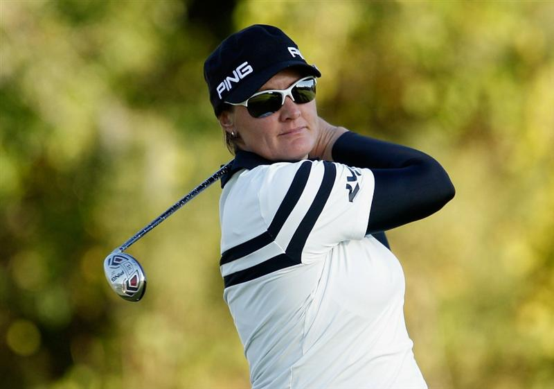 ORLANDO, FL - DECEMBER 04:  Maria Hjorth of Sweden hits her tee shot on 13th hole during the third round of the LPGA Tour Championship at the Grand Cypress Resort on December 4, 2010 in Orlando, Florida.  (Photo by Scott Halleran/Getty Images)