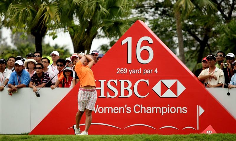 SINGAPORE - FEBRUARY 27:  Ai Miyazato of Japan hits her tee-shot on the 16th hole during the third round of the HSBC Women's Champions at the Tanah Merah Country Club on February 27, 2010 in Singapore.  (Photo by Andrew Redington/Getty Images)