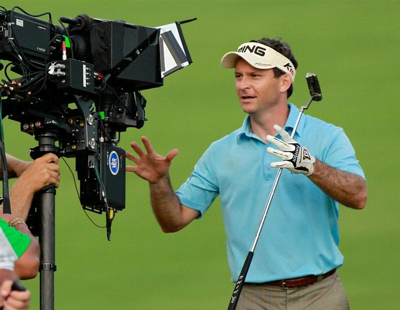 HONOLULU, HI - JANUARY 16:  Mark Wilson reacts to a T.V. camera following a shot on the 17th hole during the final round of the Sony Open at Waialae Country Club on January 16, 2011 in Honolulu, Hawaii.  (Photo by Sam Greenwood/Getty Images)
