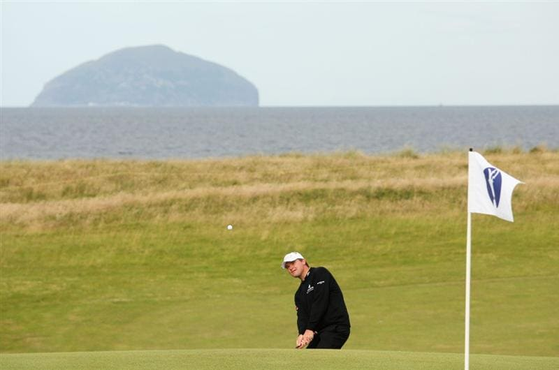 TURNBERRY, SCOTLAND - JULY 14:  Paul Lawrie of Scotland plays a shot during a practice round prior to the 138th Open Championship on the Ailsa Course, Turnberry Golf Club on July 14, 2009 in Turnberry, Scotland.  (Photo by Ross Kinnaird/Getty Images)