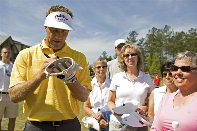 SIX MILE, SC - APRIL 25: Professional golfer Stuart Appleby signs autographs during a golf clinic at the grand opening of the International Institute of Golf at The Cliffs at Keowee Spings golf course on April 25, 2009 in Six Mile, South Carolina. (Photo by Chris Keane/Getty Images)