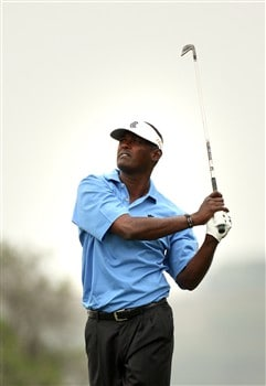 SAN DIEGO - JUNE 14:  Vijay Singh of Fiji hits from the fairway on the sixth hole during the third round of the 108th U.S. Open at the Torrey Pines Golf Course (South Course) on June 14, 2008 in San Diego, California.  (Photo by Ross Kinnaird/Getty Images)