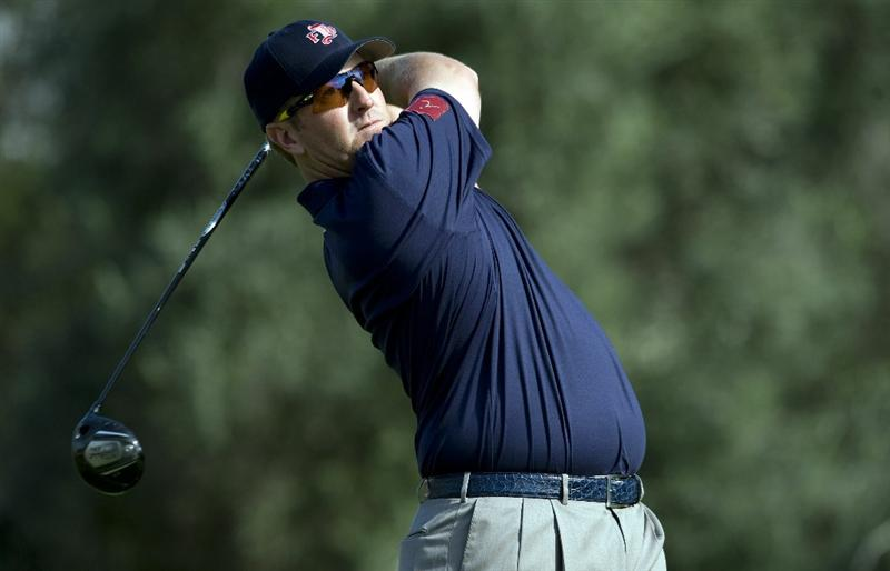 LAS VEGAS, NV - OCTOBER 23: David Duval hits his tee shot on the 16th hole during the third round of the Justin Timberlake Shriners Hospitals for Children Open on October 23, 2010 in Las Vegas, Nevada. (Photo by Steve Dykes/Getty Images)