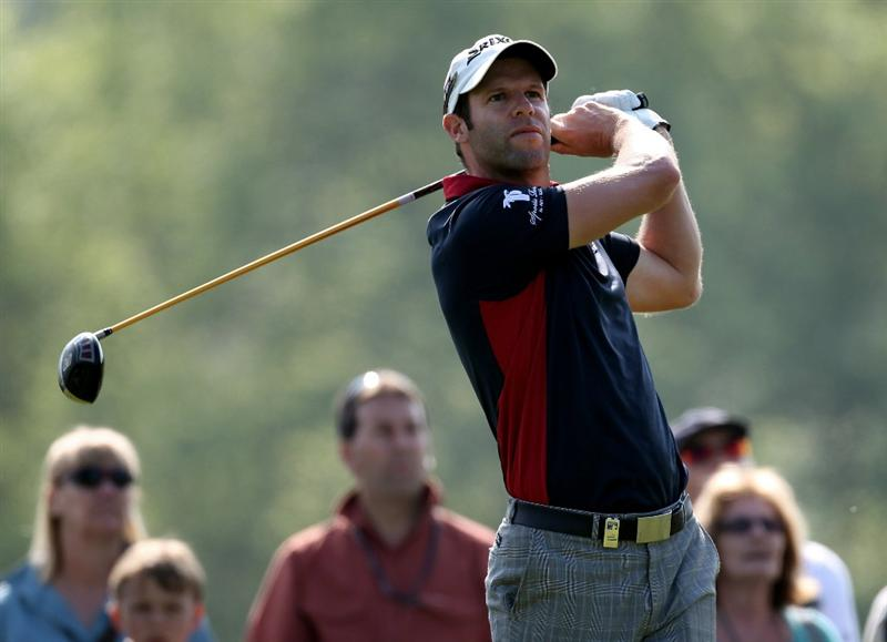 NEWPORT, WALES - JUNE 03: Bradley Dredge of Wales during the first round of the Celtic Manor Wales Open on the 2010 Course at the Celtic Manor Resort on June 3, 2010 in Newport, Wales.  (Photo by Ross Kinnaird/Getty Images)